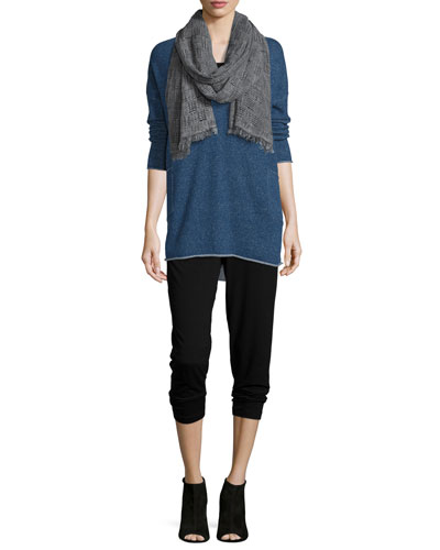 Cashmere Tunic W/ Pockets, Organic Cotton Slim Tank, Basket-Weave Scarf & Slim Slouchy Ankle Pants, Petite