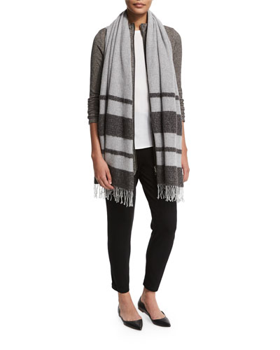 Cozy Micro-Striped Jacket, Slim Top, Striped Wool Boucle Scarf &  Slim Slouchy Ankle Pants, Women's