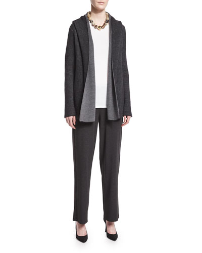 Thermal Hooded Cardigan & Straight-Leg Stretch Pants, Women's