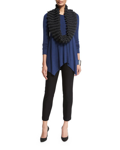 Long-Sleeve Easy Tunic with Hanky Hem, Hand-Knit Popcorn Infinity Scarf & Washable Stretch-Crepe Ankle Pants