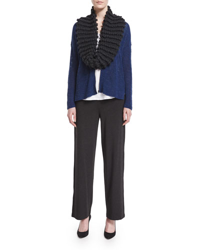 Zip-Front Merino Wool Cardigan, Scoop-Neck Tee, Popcorn Infinity Scarf & Straight-Leg Stretch Pants, Women's