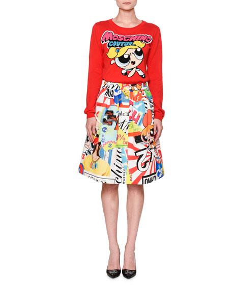 Moschino Powerpuff Girls Long-Sleeve Sweater, Red