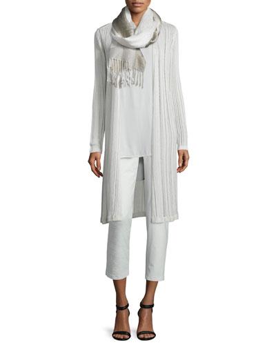 Eileen Fisher Linear Knit Maxi Cardigan, Sleeveless Silk