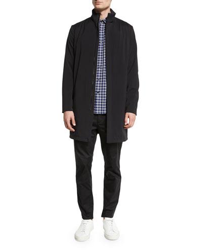 Theory Makinon Nylon Long Jacket, Bariet Check Long-Sleeve