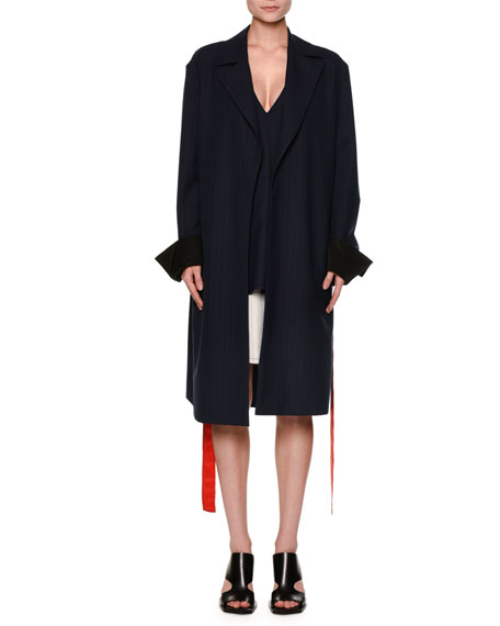 Marni Pinstripe Removable-Cuff Duster Coat, Eclipse