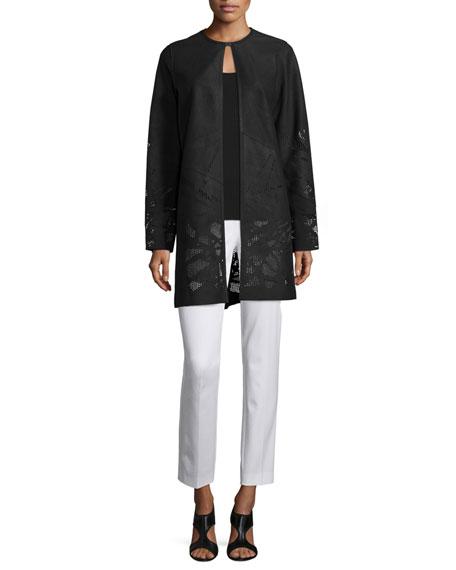 Elie Tahari Melody Leather Coat W/Perforated Hem, Black