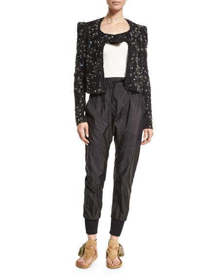 Isabel MarantStrong-Shoulder Embellished Jacket, Black/Silver
