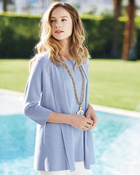 3/4-Sleeve Silk-Cotton Interlock Cardigan, Delfina, Plus Size