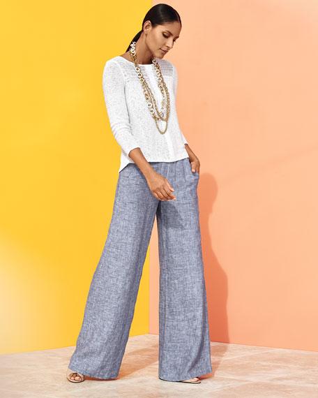 Long-Sleeve Sheer Illusion Sweater Top, Petite