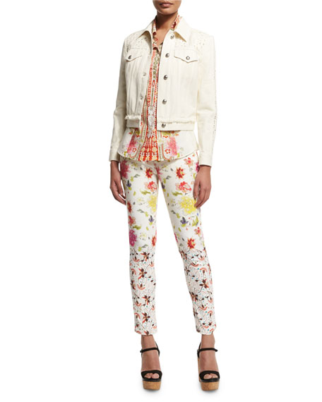 Etro Long-Sleeve Button-Front Printed Top, White