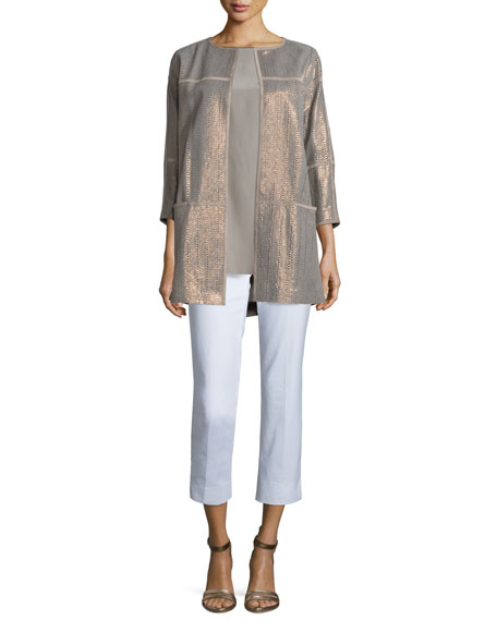 Lafayette 148 New York Maureen Python-Print Topper Jacket