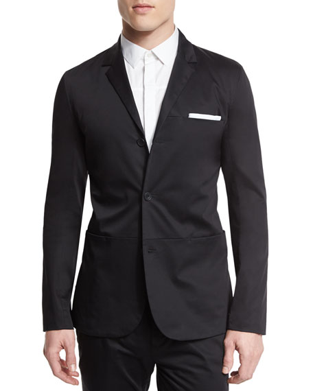 Helmut Lang Sateen Three-Button Blazer, Black