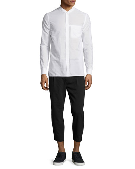 Helmut Lang Seersucker Long-Sleeve Bomber Shirt, Optic White