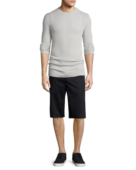 Helmut Lang Cashmere Front-Panel Crewneck Sweater, Sand Heather
