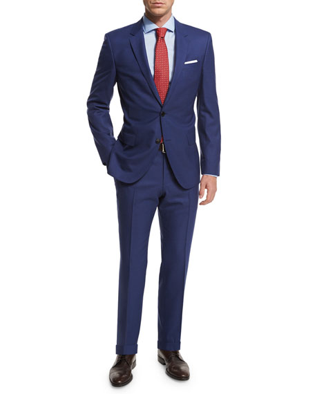 Boss Hugo Boss Micro-Check Two-Piece Wool Suit, Blue