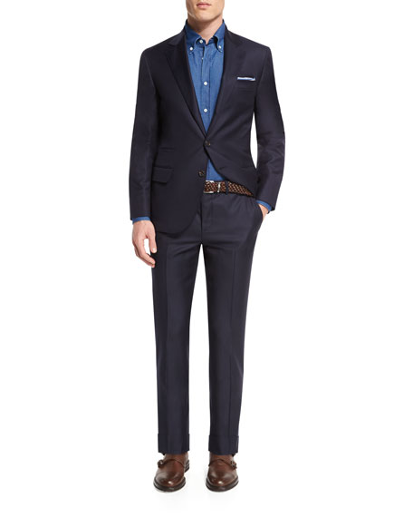 Brunello Cucinelli Solid Gabardine Two-Piece Wool Suit, Navy