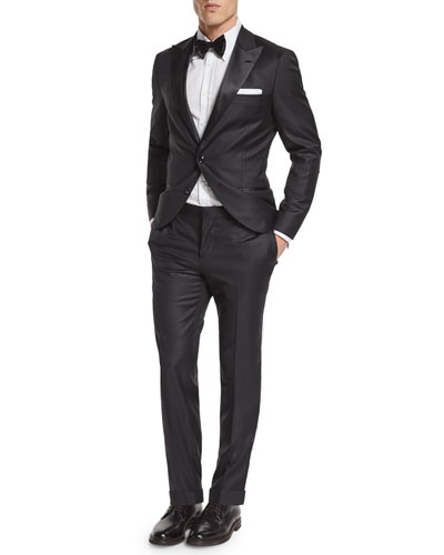 Brunello Cucinelli Peak-Lapel Wool Tuxedo & Button-Down