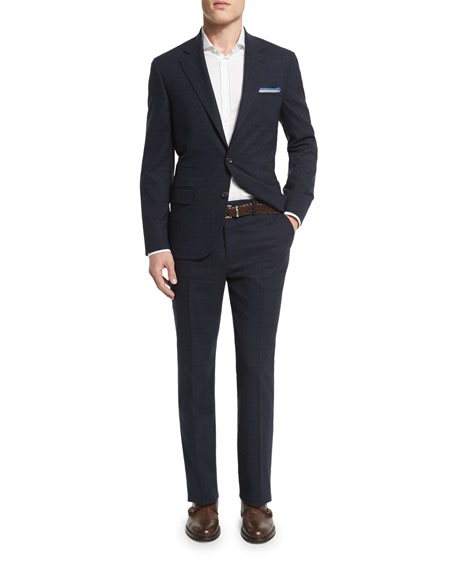 Brunello Cucinelli Plaid Two-Button Wool Suit, Navy