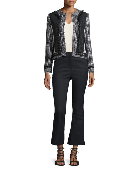 Derek Lam 10 Crosby Tassel-Trim Tweed Linen-Blend Jacket,