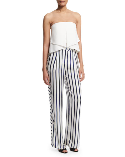 Strapless Layered Bustier Top & Dual-Striped Wide-Leg Pants