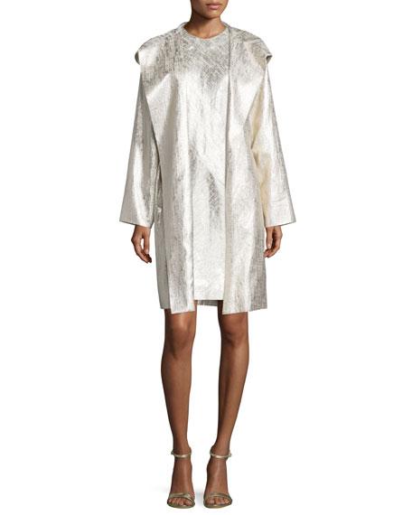 ShamaskHooded Metallic Raincoat, Gold
