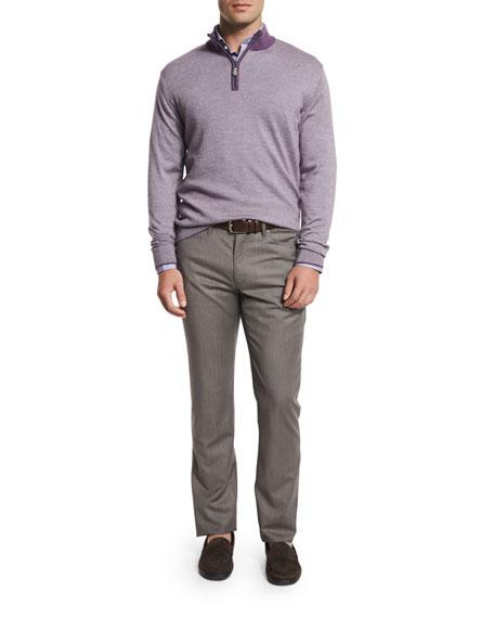 Peter Millar Textured Quarter-Zip Pullover Sweater, Viola