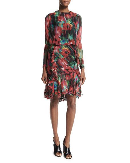 Jason Wu Long-Sleeve Floral-Print Top, Black/Multi