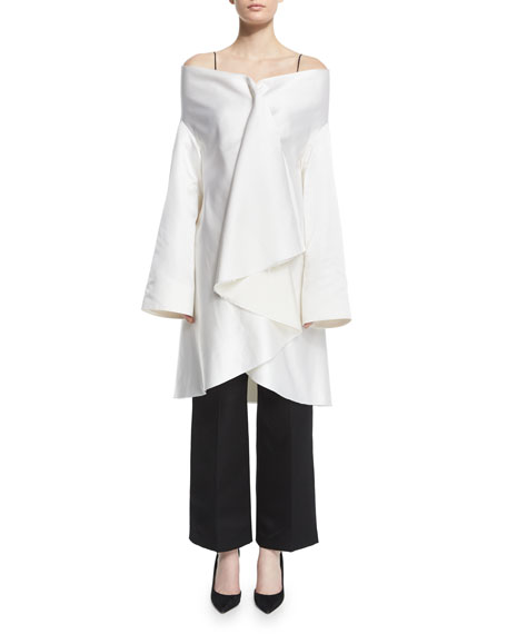 THE ROW Tere Off-The-Shoulder Ruffle-Front Jacket, White