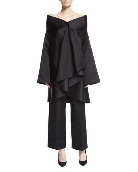 THE ROW Tere Off-The-Shoulder Ruffle-Front Jacket, Black