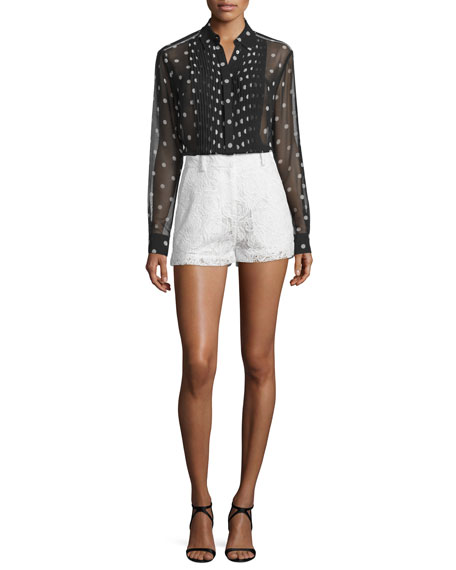McQ Alexander McQueen Sheer Pleated Polka-Dot Tunic, Black/White