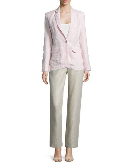 Neiman Marcus One-Button Fitted Linen Blazer, Women's