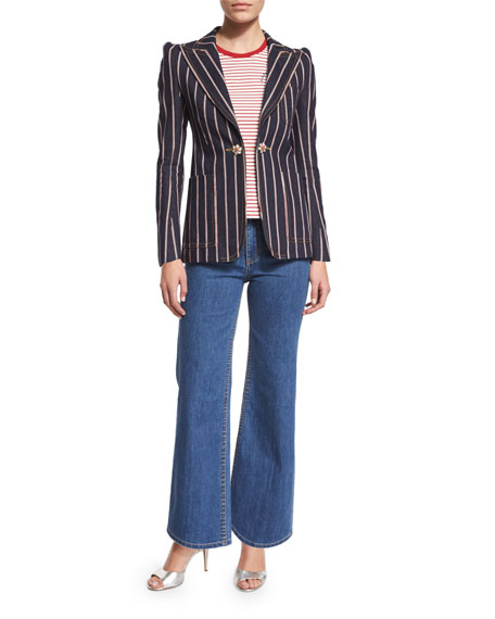 Marc JacobsStructured Selvedge-Striped Denim Blazer, Indigo