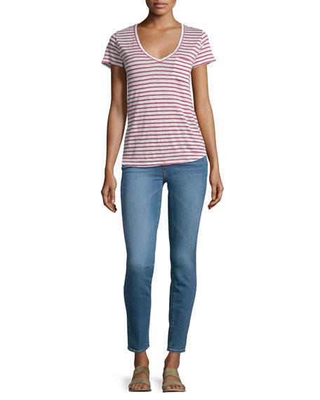 Paige Denim Lynnea V-Neck Striped Tee, Red/White Stripe