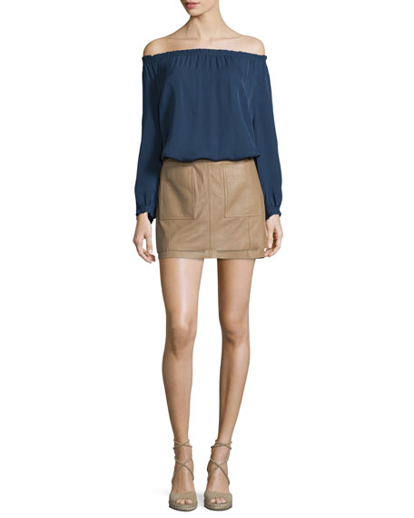 Joie Bamboo Off-The-Shoulder Silk Top