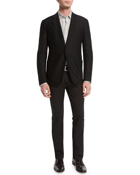 Armani Collezioni Textured Two-Button Jacket, Black