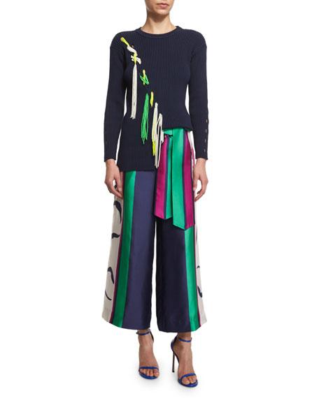 Tanya Taylor Jane Ribbed Tassel-Trim Pullover Sweater, Midnight