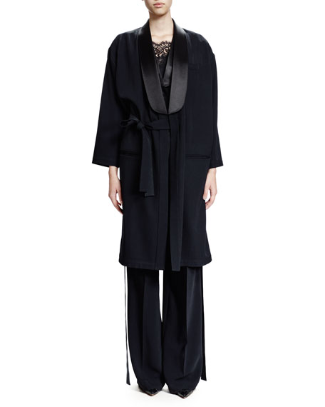 Givenchy 3/4-Sleeve Open-Front Coat, Black