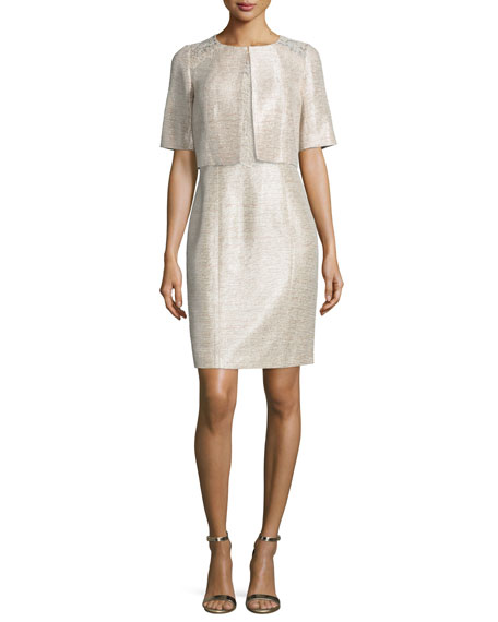 Kay Unger New York Embroidered-Shoulder Half-Sleeve Cropped