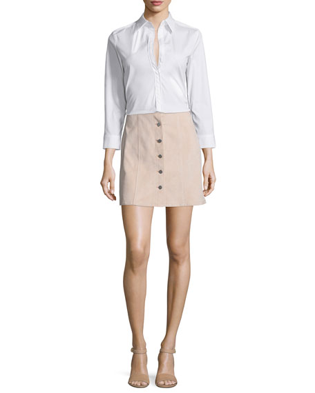 Theory Joklann Long-Sleeve Luxe Shirt, White