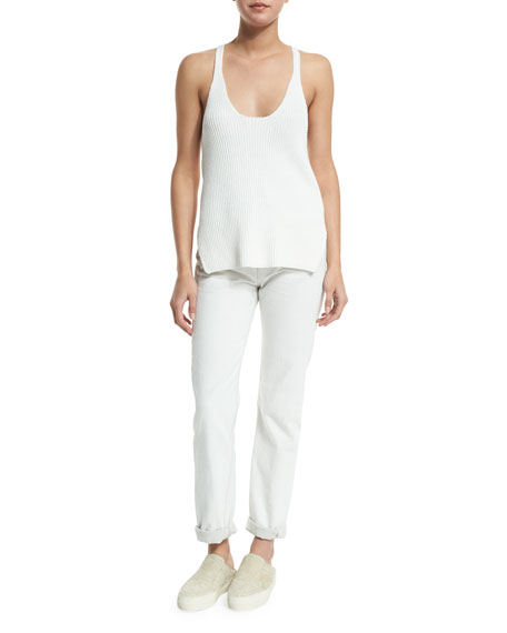Helmut Lang Ribbed Cotton Racerback Tank, White