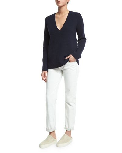 Helmut Lang Ribbed V-Neck Sweater & Cropped Cotton