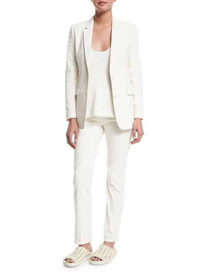 Helmut Lang Two-Button Cotton-Blend Jacket, Ivory