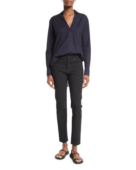 Helmut Lang Long-Sleeve Cotton Lawn Tunic, Midnight Navy