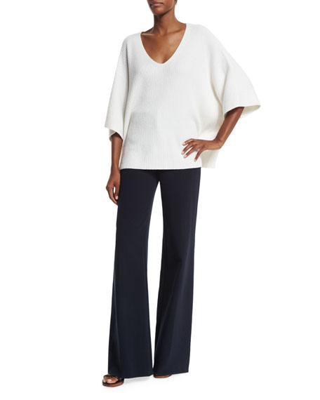 Helmut Lang Dolman-Sleeve Ribbed Oversized Pullover Sweater,