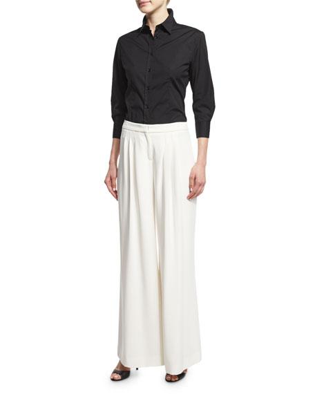 Carolina Herrera 3/4-Sleeve Classic Shirt