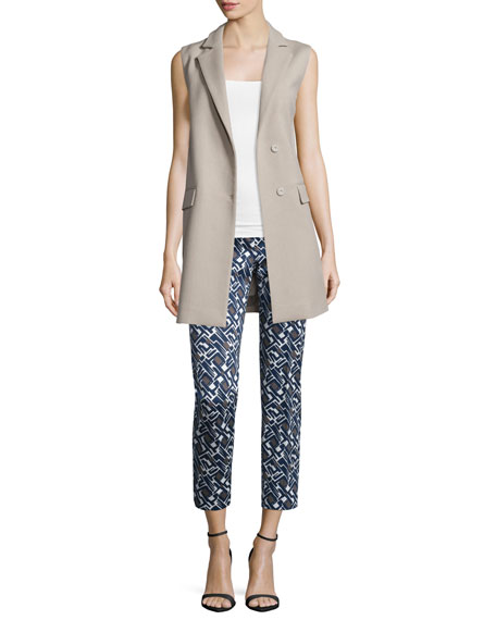 PesericoSnap-Front Long Vest, Stone