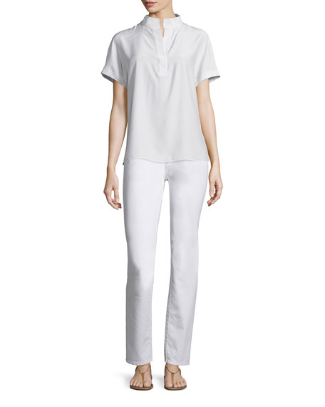 Lafayette 148 New York Reyn Short-Sleeve Split-Neck Blouse,