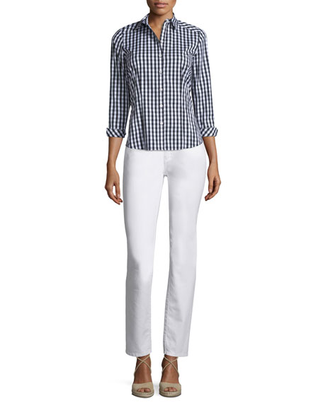 Lafayette 148 New York Janessa Button-Front Check-Print Blouse,