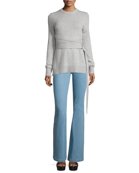 Michael Kors Collection Wrap-Belt Cashmere Sweater, Gray