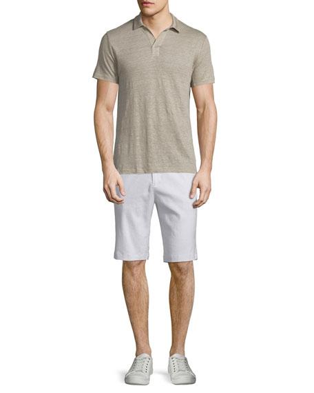 Vince Short-Sleeve Linen Polo Shirt, Vintage Khaki